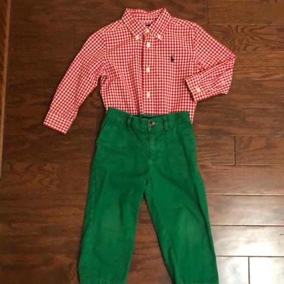 d36fd10e Ralph Lauren Boy's Plaid Shirt & Green Pants